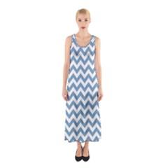 Blue And White Zigzag Full Print Maxi Dress by Zandiepants