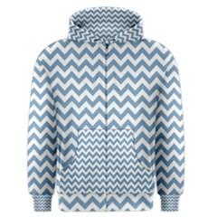 Blue And White Zigzag Men s Zipper Hoodie by Zandiepants