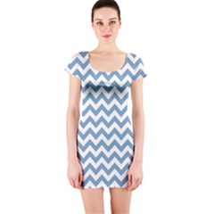 Blue And White Zigzag Short Sleeve Bodycon Dress by Zandiepants
