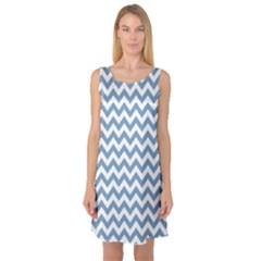 Blue And White Zigzag Sleeveless Satin Nightdress by Zandiepants