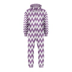 Lilac And White Zigzag Hooded Jumpsuit (kids) by Zandiepants