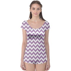 Lilac And White Zigzag Boyleg Leotard (ladies)
