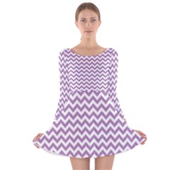 Lilac And White Zigzag Long Sleeve Velvet Skater Dress by Zandiepants