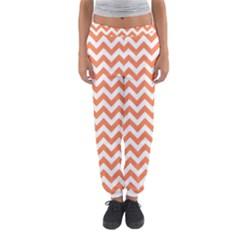 Orange And White Zigzag Women s Jogger Sweatpants by Zandiepants