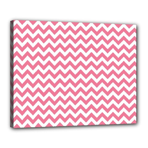 Pink And White Zigzag Canvas 20  X 16  by Zandiepants