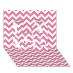 Pink And White Zigzag Love 3d Greeting Card (7x5)
