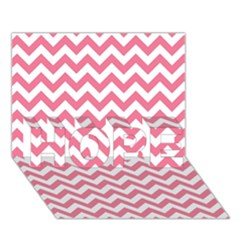Pink And White Zigzag Hope 3d Greeting Card (7x5)  by Zandiepants