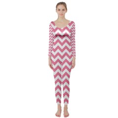 Pink And White Zigzag Long Sleeve Catsuit by Zandiepants