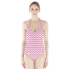 Pink And White Zigzag Women s Halter One Piece Swimsuit by Zandiepants