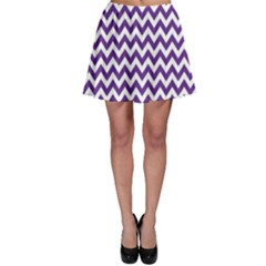 Purple And White Zigzag Pattern Skater Skirt