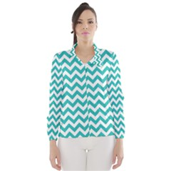 Turquoise And White Zigzag Pattern Wind Breaker (women)