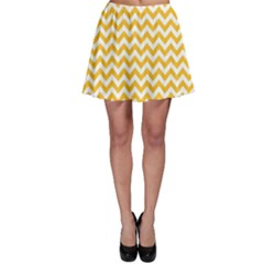 Sunny Yellow And White Zigzag Pattern Skater Skirt