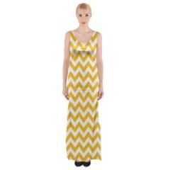 Sunny Yellow And White Zigzag Pattern Maxi Thigh Split Dress by Zandiepants