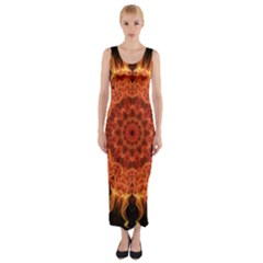 Flaming Sun Fitted Maxi Dress by Zandiepants