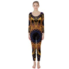 Yellow Purple Lotus Mandala Long Sleeve Catsuit by Zandiepants