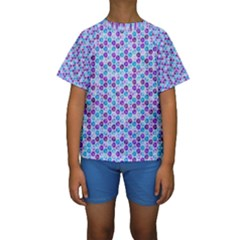 Purple Blue Cubes Kid s Short Sleeve Swimwear by Zandiepants