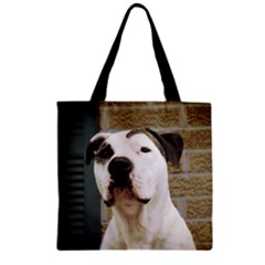 Pit Bull T Bone 2015/05/25 Zipper Grocery Tote Bag by ButThePitBull