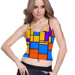 Retro Colors Rectangles And Squares Women s Spaghetti Strap Bra Top by LalyLauraFLM