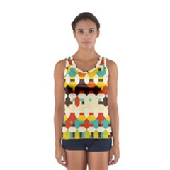 Shapes In Retro Colors Women s Sport Tank Top by LalyLauraFLM
