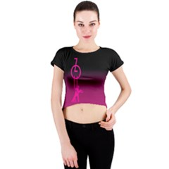 Zouk Pink/purple Crew Neck Crop Top