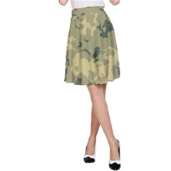 Greencamouflage A Line Skirt