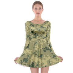 Greencamouflage Long Sleeve Skater Dress