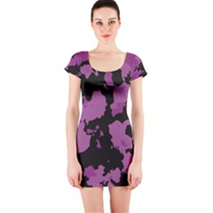 Pink Camouflage Short Sleeve Bodycon Dresses