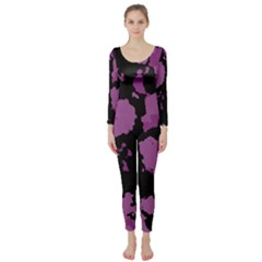 Pink Camouflage Long Sleeve Catsuit