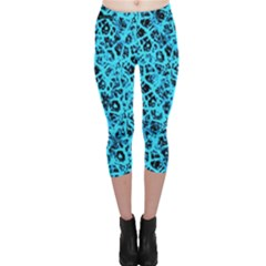 Officially Sexy Sky Blue & Black Cracked Pattern Capri Leggings  by OfficiallySexy