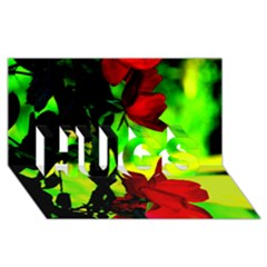 Red Roses And Bright Green 1 Hugs 3d Greeting Card (8x4)  by timelessartoncanvas