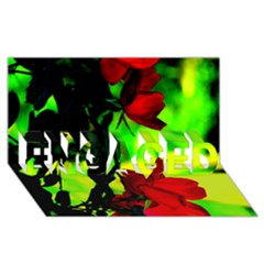 Red Roses And Bright Green 1 Engaged 3d Greeting Card (8x4)