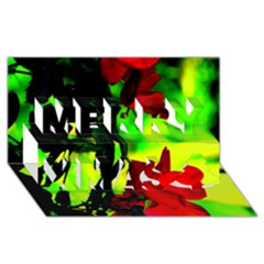 Red Roses And Bright Green 1 Merry Xmas 3d Greeting Card (8x4)  by timelessartoncanvas