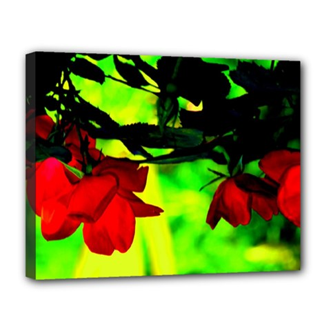 Red Roses And Bright Green 2 Canvas 14  X 11  by timelessartoncanvas