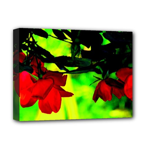 Red Roses and Bright Green 2 Deluxe Canvas 16  x 12   by timelessartoncanvas