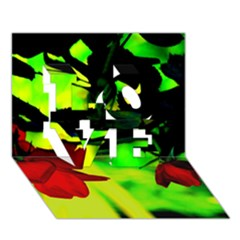 Red Roses And Bright Green 2 Love 3d Greeting Card (7x5)  by timelessartoncanvas