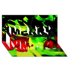 Red Roses And Bright Green 2 Merry Xmas 3d Greeting Card (8x4)