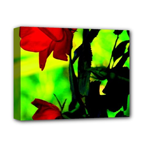 Red Roses And Bright Green 3 Deluxe Canvas 14  X 11  by timelessartoncanvas