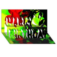 Red Roses And Bright Green 3 Happy Birthday 3d Greeting Card (8x4)  by timelessartoncanvas