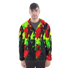 Red Roses And Bright Green 3 Hooded Wind Breaker (men) by timelessartoncanvas