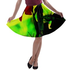 Red Roses And Bright Green 3 A Line Skater Skirt by timelessartoncanvas