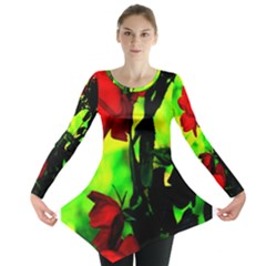Red Roses And Bright Green 3 Long Sleeve Tunic  by timelessartoncanvas