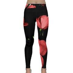 Mauve Roses 2 Yoga Leggings by timelessartoncanvas