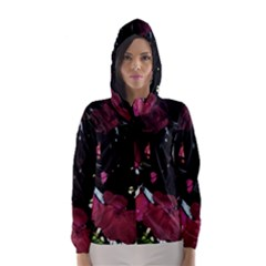 Mauve Pink Roses Hooded Wind Breaker (women) by timelessartoncanvas