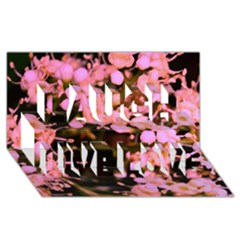 Little Mauve Flowers Laugh Live Love 3d Greeting Card (8x4)