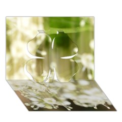 Little White Flowers Clover 3d Greeting Card (7x5)  by timelessartoncanvas