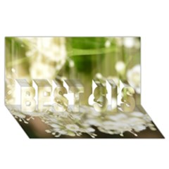 Little White Flowers Best Sis 3d Greeting Card (8x4)  by timelessartoncanvas