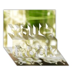 Little White Flowers You Rock 3d Greeting Card (7x5)