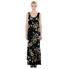 Little White Flowers 2 Maxi Thigh Split Dress by timelessartoncanvas