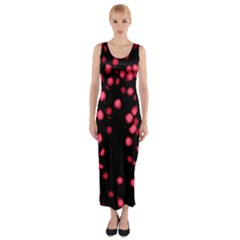 Little Pink Dots Fitted Maxi Dress by timelessartoncanvas