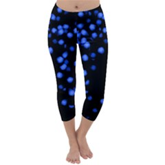 Little Blue Dots Capri Winter Leggings  by timelessartoncanvas